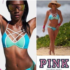 PINK Victoria's secret strappy front bikini set